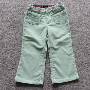 Baby Gap Girls 2T Green Glitter Corduroy Pants